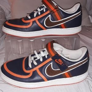 Nike Air Force 1 navy blue orange trim